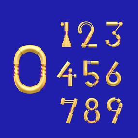 创意黄金色数字整套设计