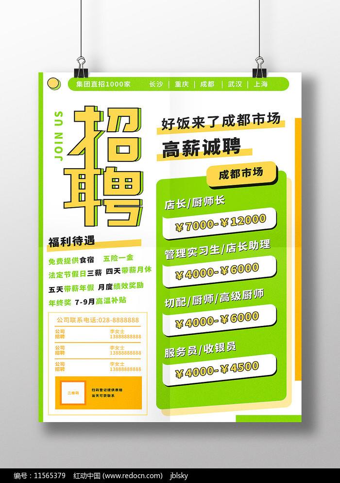 黄绿色餐饮类招聘海报图片