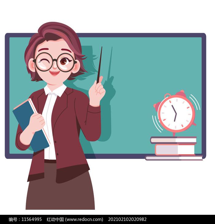 卡通手绘清新教师人物形象png素材图片