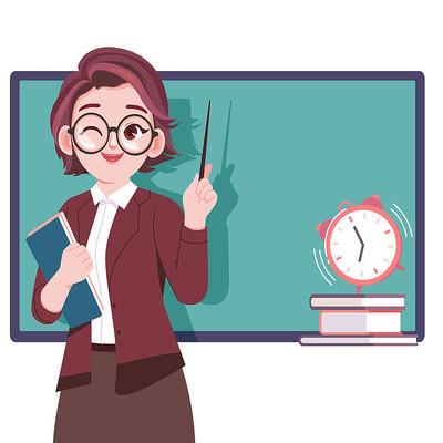卡通手绘清新教师人物形象png素材