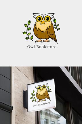 猫头鹰书店教育类卡通形象标志设计