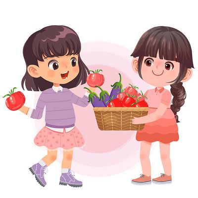 秋季秋天女孩和丰收的农作物产品png素材