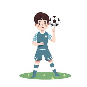 矢量卡通扁平踢足球元素