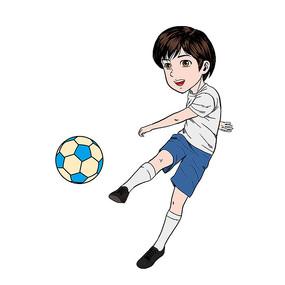 手绘风踢足球的儿童