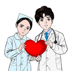 手绘卡通风手捧爱心的医生