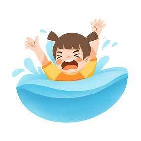 游泳溺水的卡通人物