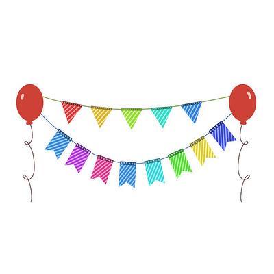 彩色气球彩旗