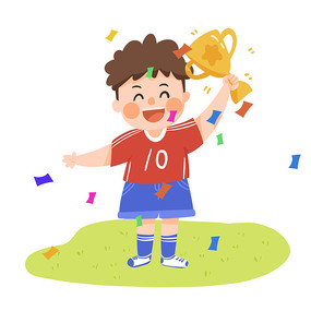 卡通小男孩奥运会领奖