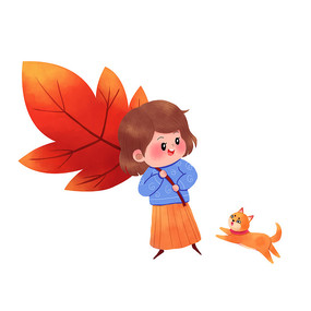 可爱女孩开心摘到树叶