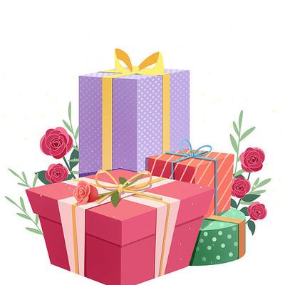 情人节粉色礼盒玫瑰花通用PNG素材