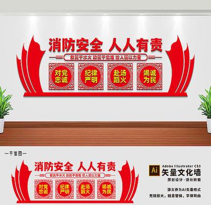 十六字方针消防文化墙