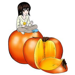 手绘坐在柿子上的女孩