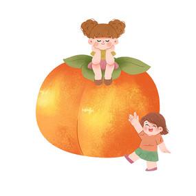 大柿子与小女孩psd