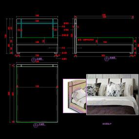轻奢家具软包床金属装饰床CAD图库