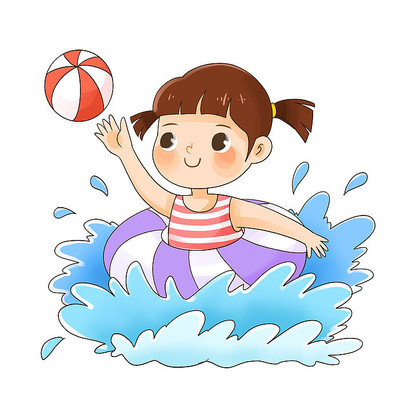 游泳玩耍的小女孩