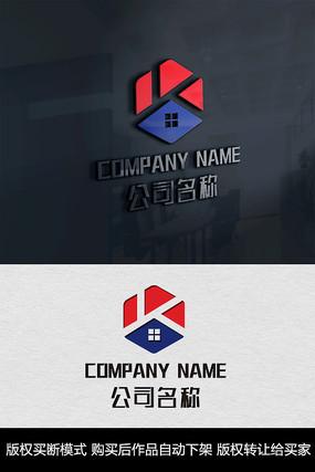 K字母logo标志房地产商标设计