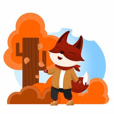 踩落叶的小狐狸
