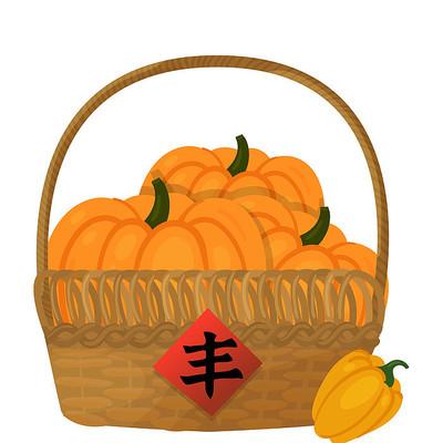 丰收的农作物南瓜食物食材插画素材