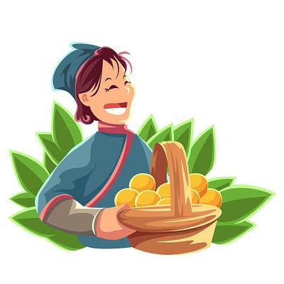 刚收完玉米的大娘插画元素