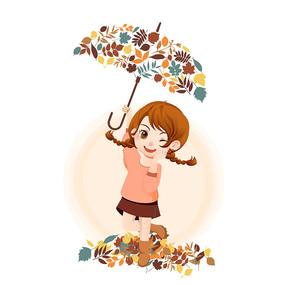 秋天落叶女孩和树叶组合素材