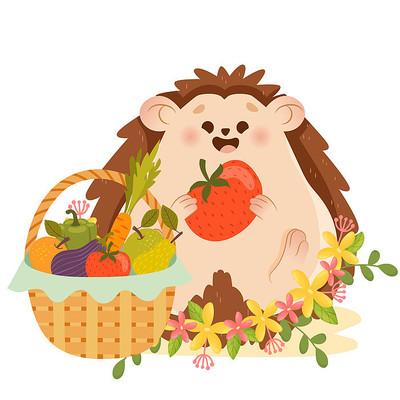 秋天秋季可爱小动物插画素材