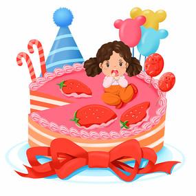 吃生日蛋糕的女孩
