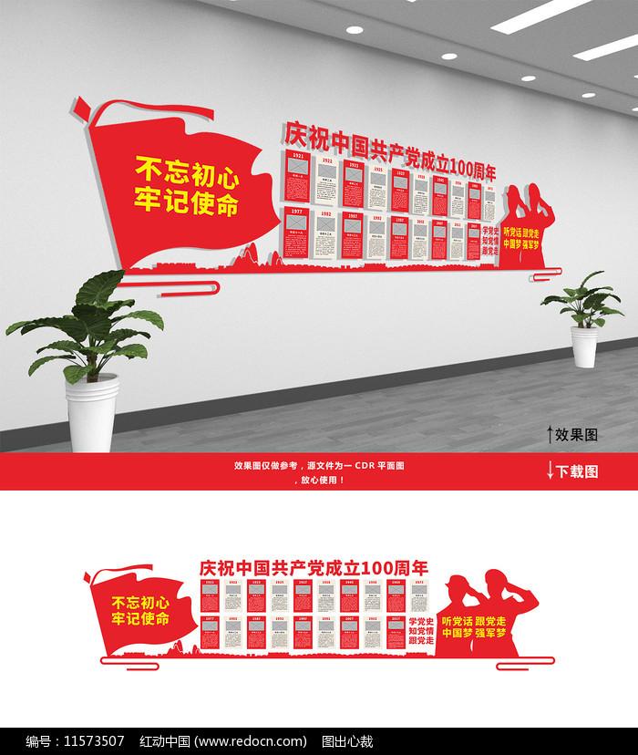 党的光辉历程党建文化墙图片