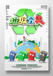 简约社区垃圾分类海报设计