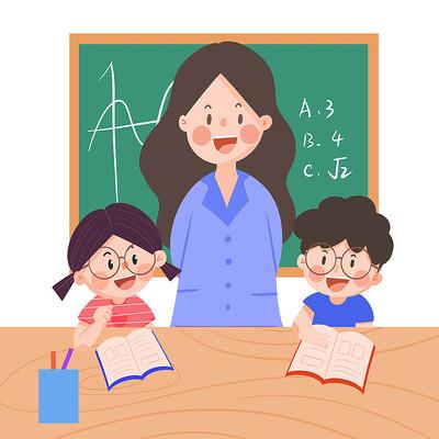 卡通老师给孩子讲课