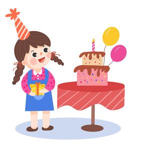 卡通小女孩庆祝生日