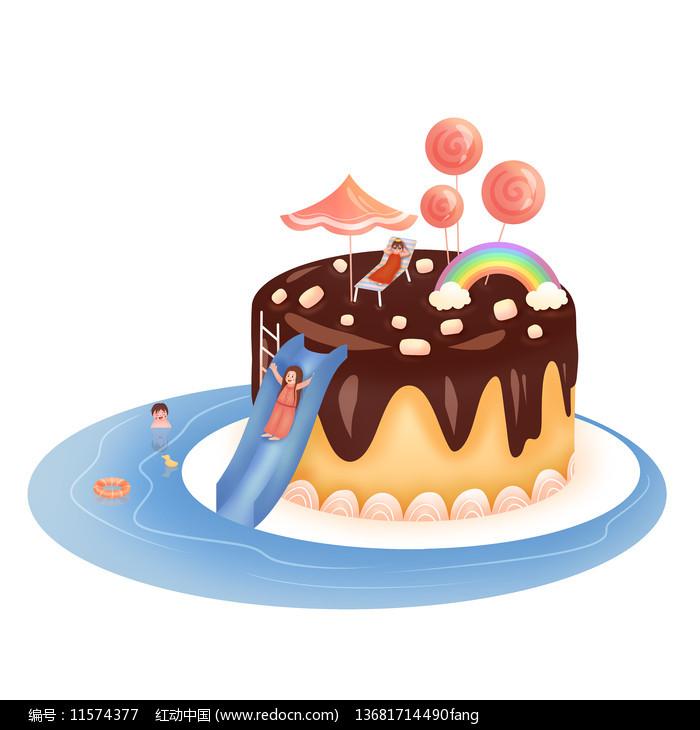 手绘蛋糕卡通人物夏天图片