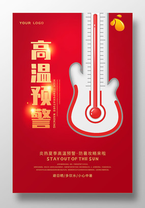 红色原创高温预警海报设计
