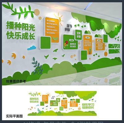 快乐学习健康成长校园文化背景墙设计