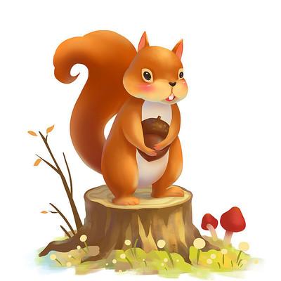 秋天动物可爱的小松鼠