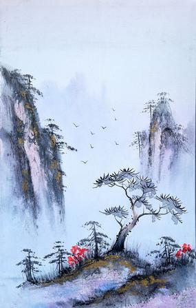 纯手绘高清高山流水抽象艺术油画装饰画