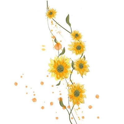 黄色手绘向日葵花边素材