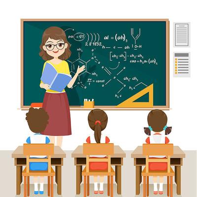 开学学校卡通教师讲课形象插画素材