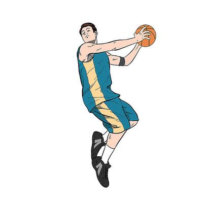 手绘打篮球的运动员