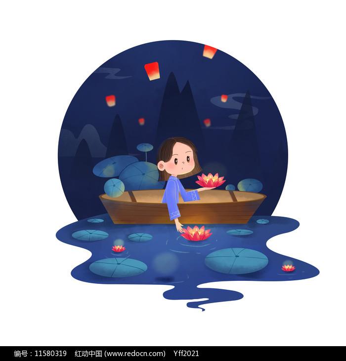 中元节女孩放河灯祈福图片