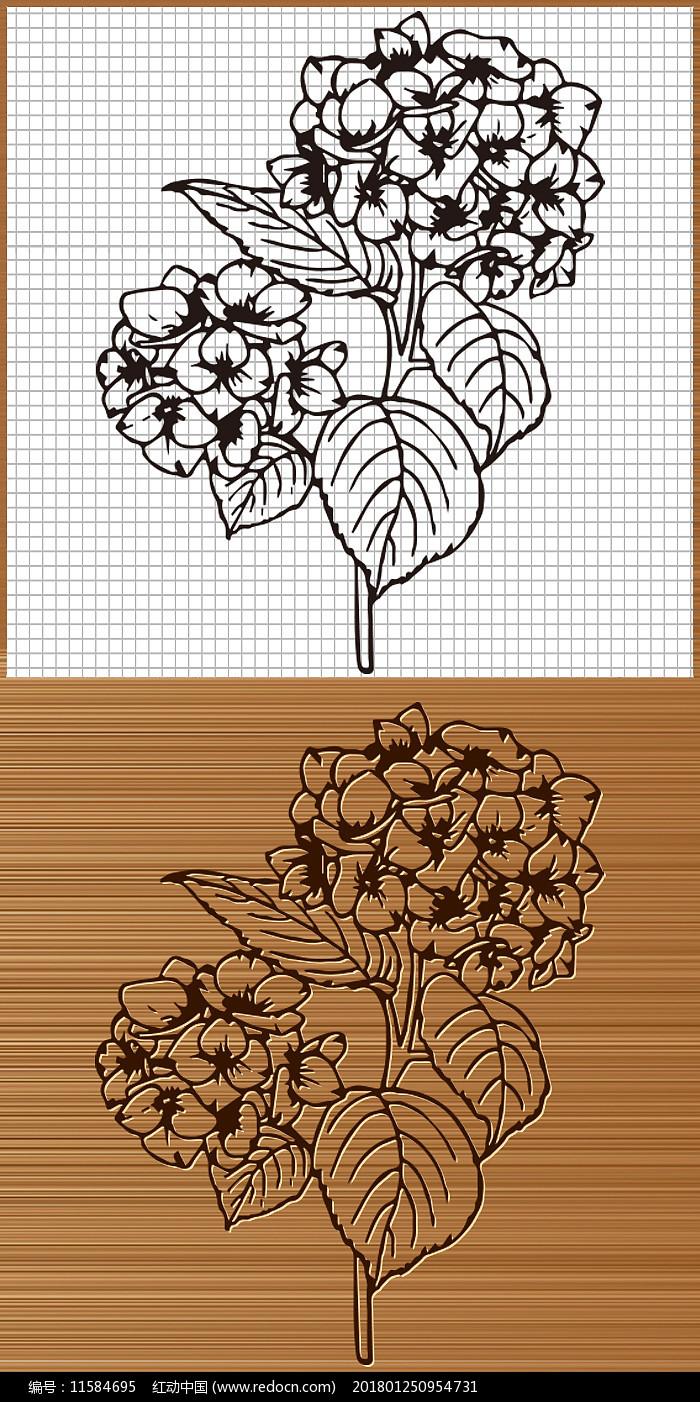 八仙花绣球花矢量雕刻图案图片