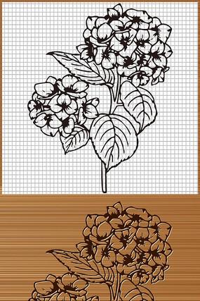 八仙花绣球花矢量雕刻图案