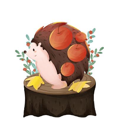 刺猬扎苹果元素