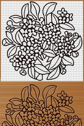 桂花矢量雕刻图案