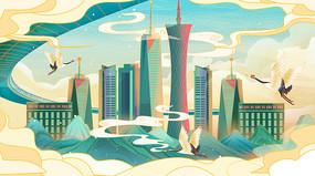 国潮现代建筑插画中国风建筑插画背景