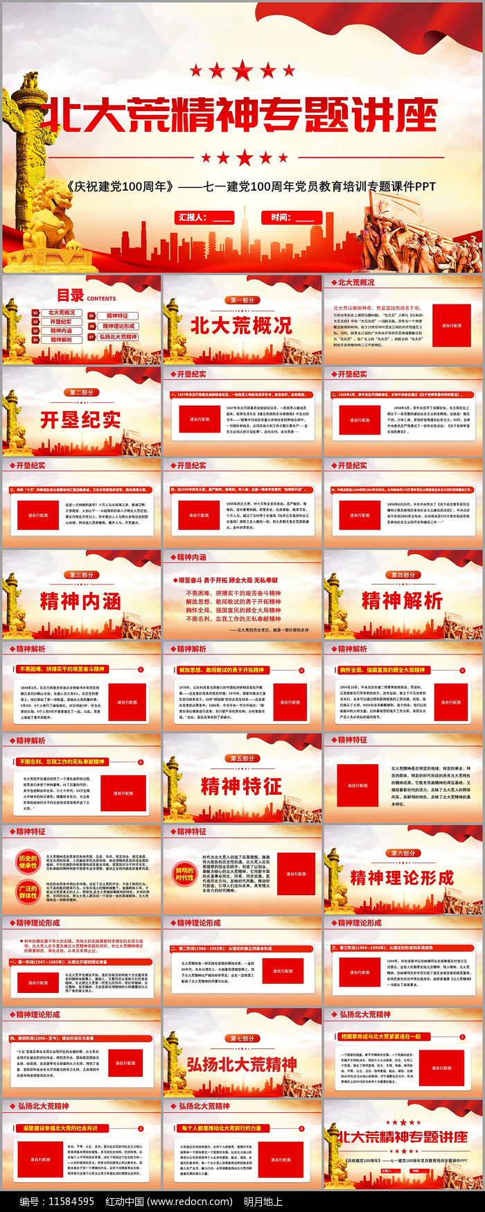 弘扬北大荒精神学习党课PPT图片