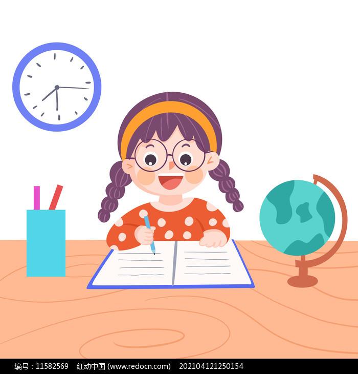 卡通小女孩写作业图片
