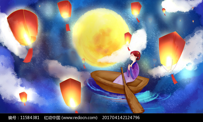 孔明灯祈福中元节月亮图片