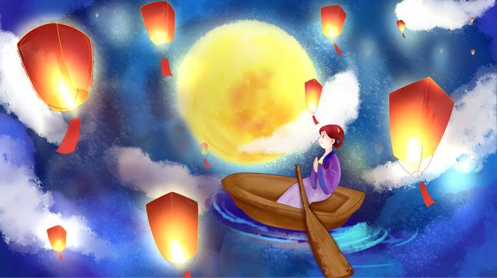 孔明灯祈福中元节月亮
