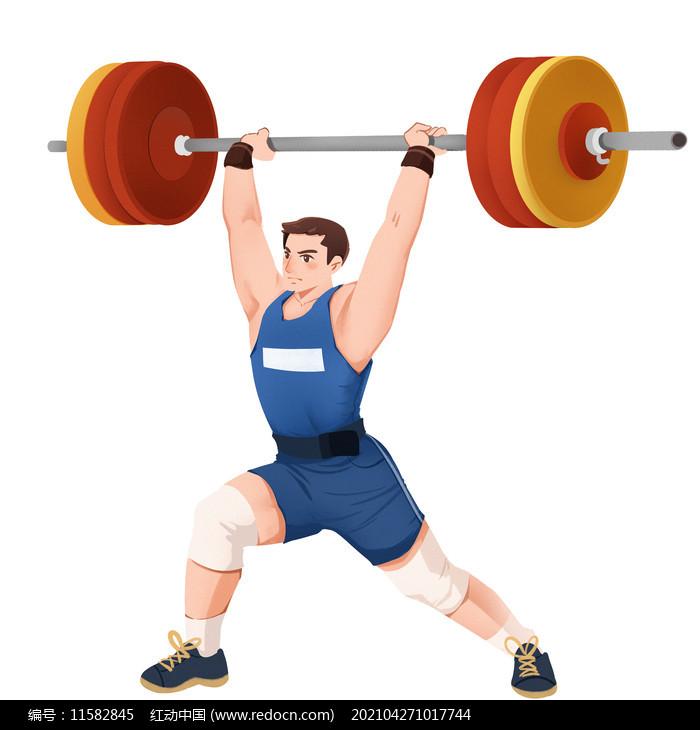 奥运会运动会男运动员人物举重PNG素材图片