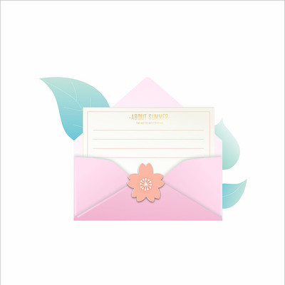 粉色西式小清新拆开信封原创元素设计